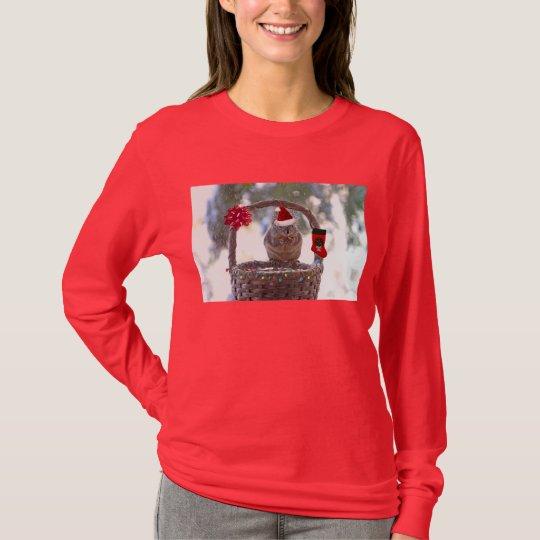 Christmas Squirrel in Snowy Basket T-Shirt