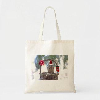 Christmas Squirrel in Snowy Basket Tote Bag