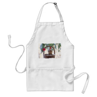 Christmas Squirrel in the Snow Adult Apron