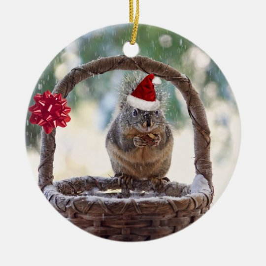 Christmas Squirrel in the Snow Ceramic Ornament