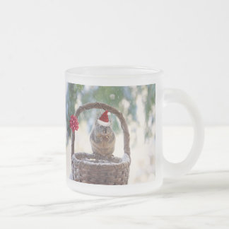Christmas Squirrel in the Snow Frosted Glass Coffee Mug