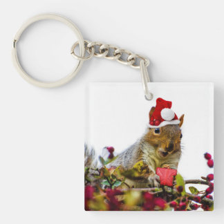 Christmas Squirrel Single-Sided Square Acrylic Keychain