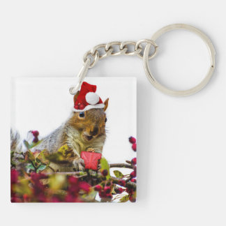 Christmas Squirrel Double-Sided Square Acrylic Keychain