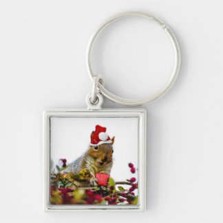 Christmas Squirrel Silver-Colored Square Keychain