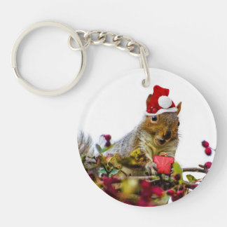 Christmas Squirrel Single-Sided Round Acrylic Keychain