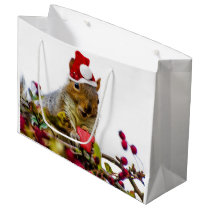 Christmas squirrel large gift bag