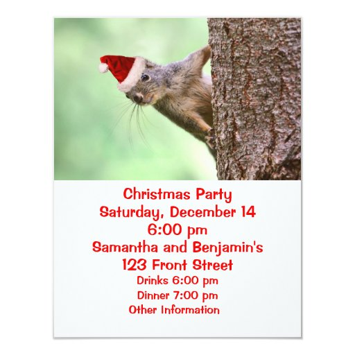 Christmas Squirrel on a Tree Announcements