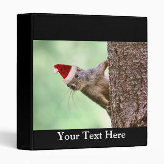 Christmas Squirrel on a Tree 3 Ring Binders