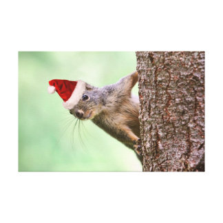 Christmas Squirrel on a Tree Gallery Wrap Canvas