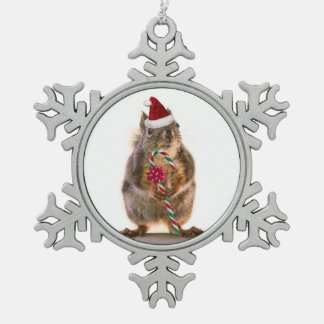 Christmas Squirrel Pewter Snowflake Ornament