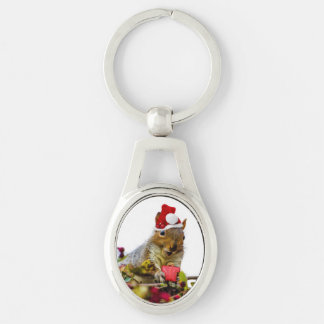 Christmas Squirrel Silver-Colored Oval Metal Keychain