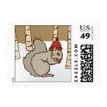 Christmas Squirrel Postage Stamp