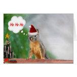 Christmas Squirrel Saying Ho Ho Ho Greeting Cards