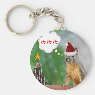 Christmas Squirrel Saying Ho Ho Ho Basic Round Button Keychain
