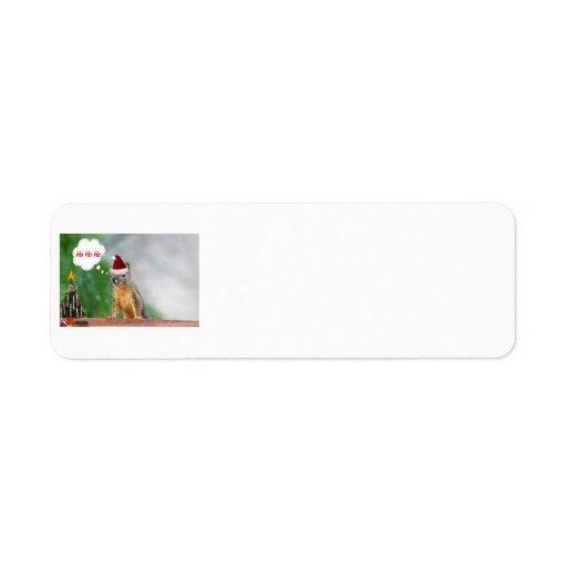 Christmas Squirrel Saying Ho Ho Ho Custom Return Address Labels