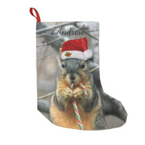 Christmas Squirrel Small Christmas Stocking