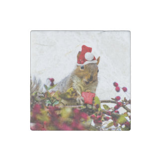 Christmas Squirrel Stone Magnet