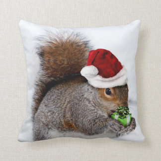 Christmas squirrel throw pillow