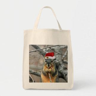 Christmas squirrel tote bag