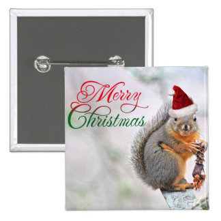 Christmas Squirrel Wearing Santa Claus Hat 2 Inch Square Button