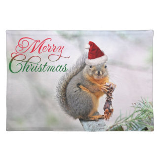 Christmas Squirrel Wearing Santa Claus Hat Cloth Place Mat