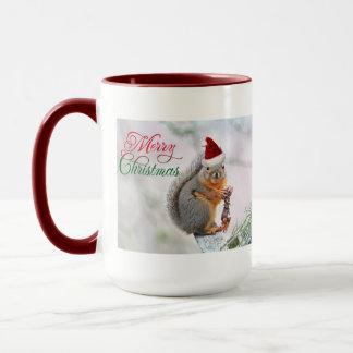 Christmas Squirrel Wearing Santa Claus Hat Mug