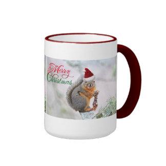 Christmas Squirrel Wearing Santa Claus Hat Mugs