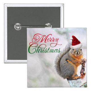 Christmas Squirrel Wearing Santa Claus Hat Pinback Button