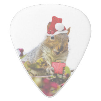 Christmas Squirrel White Delrin Guitar Pick