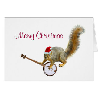 Christmas Squirrel with Banjo Greeting Card