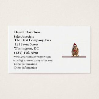 Christmas Squirrel with Candy Cane Business Card