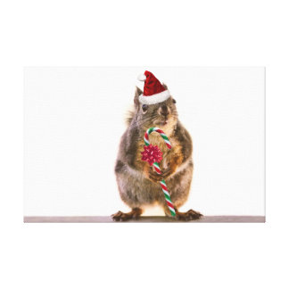 Christmas Squirrel with Candy Cane Stretched Canvas Print