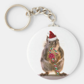 Christmas Squirrel with Candy Cane Keychain