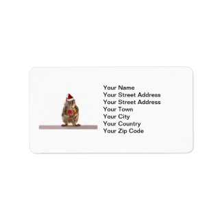 Christmas Squirrel with Candy Cane Label