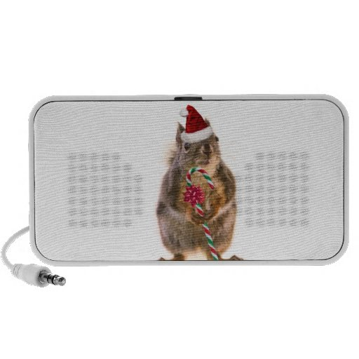 Christmas Squirrel with Candy Cane Mini Speakers