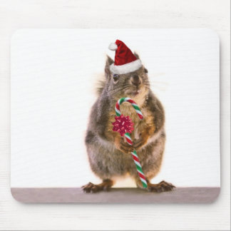 Christmas Squirrel with Candy Cane Mouse Pad