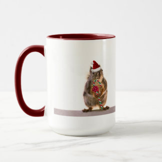 Christmas Squirrel with Candy Cane Mug