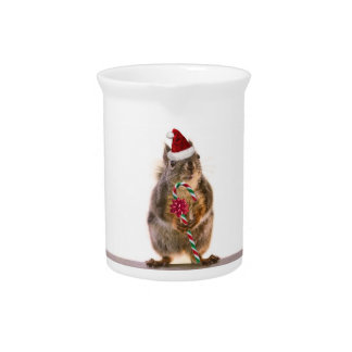 Christmas Squirrel with Candy Cane Drink Pitchers