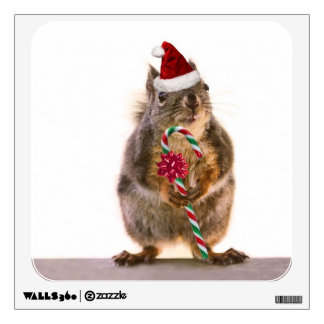 Christmas Squirrel with Candy Cane Wall Decal