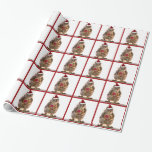 Christmas Squirrel with Candy Cane Gift Wrapping Paper