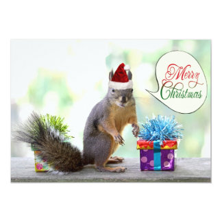 Christmas Squirrel with Christmas Presents 5x7 Paper Invitation Card