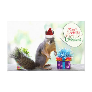 Christmas Squirrel with Christmas Presents Stretched Canvas Print