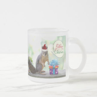 Christmas Squirrel with Christmas Presents Frosted Glass Coffee Mug
