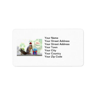 Christmas Squirrel with Christmas Presents Address Label