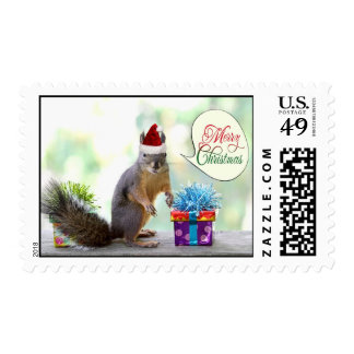Christmas Squirrel with Christmas Presents Postage
