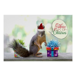 Christmas Squirrel with Christmas Presents Print