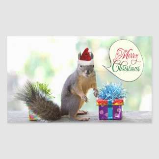 Christmas Squirrel with Christmas Presents Rectangular Sticker