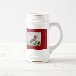Christmas Squirrel with Christmas Stocking Beer Stein