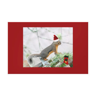 Christmas Squirrel with Christmas Stocking Gallery Wrapped Canvas