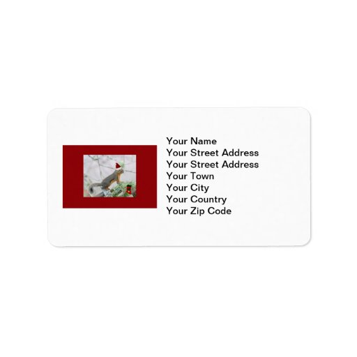 Christmas Squirrel with Christmas Stocking Label